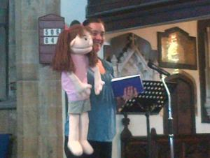 Me and a friend explaining the Bible to adults with learning disabilities